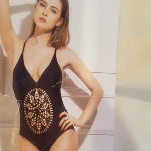 Black one piece swim with stomach design
